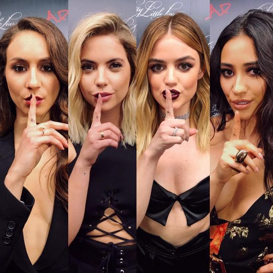 accesshollywood: We're aAt the A-list #PrettyLittleLiars series wrAppArty! The LiArs spilled some serious secrets About the finAle, but two cAn keep A secret if one of them is deAd.