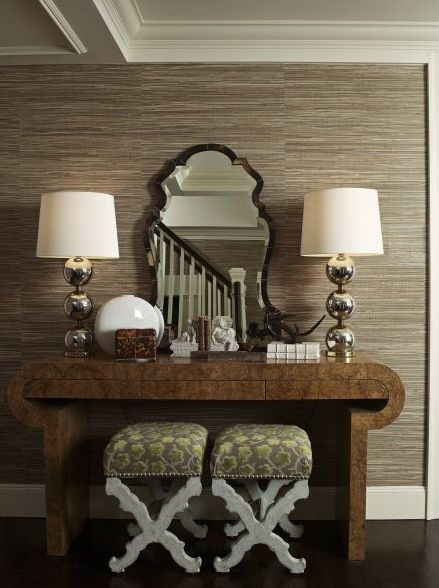 gray Grasscloth: Mirror, Lamps, Dining Rooms, Decor Ideas, Benches, Consoles Tables, Grass Clothing, Interiors Design, Grasscloth Wallpapers