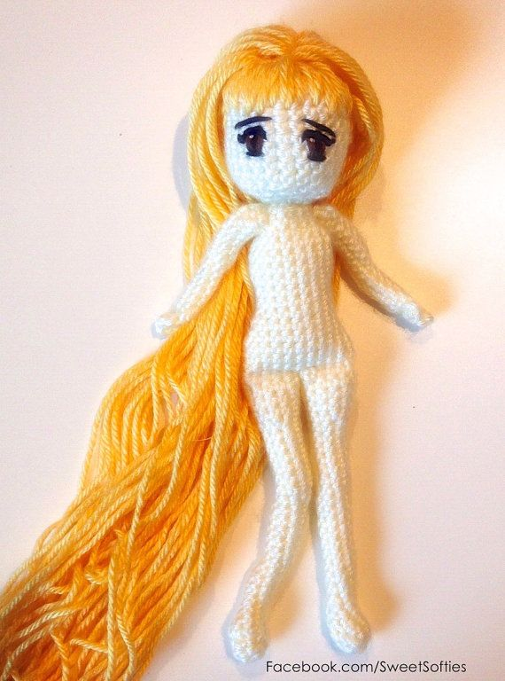 Amigurumi Hair Styles : Amigurumi Crochet Doll Pattern Japanese Anime Woman by ...