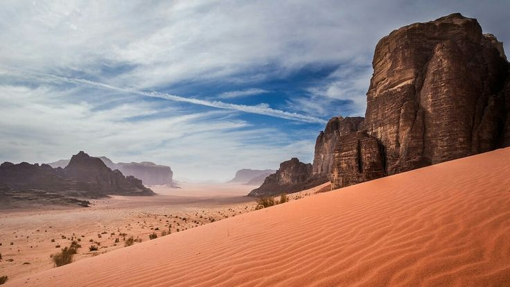 Wadi Rum, Jordan. ThisUNESCO World Heritagesite in southern Jordan has a varied landscape of cliffs, caverns, narrow gorges, natural arches, and Mars-like red sand.