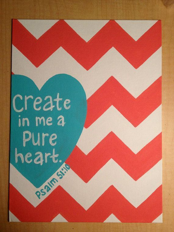 Bible verse Canvas Psalm 51:10 I could do something like this...grey and yellow... #diy #crafts