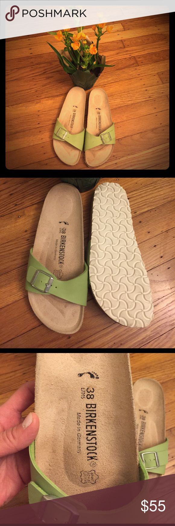 🌺Reduced⬇Germany made Madrid Birkenstock🌺 Awesome condition, barely worn Birkenstock slippers in springy green color!!! Stylish and comfy with famous Birko-Floor and rubber sole. Have 2 tiny marks on leather and one one sole as seen in 5th photo, otherwise perfectly clean!!! Open to reasonable offers!✅✅✅ Birkenstock Shoes Slippers