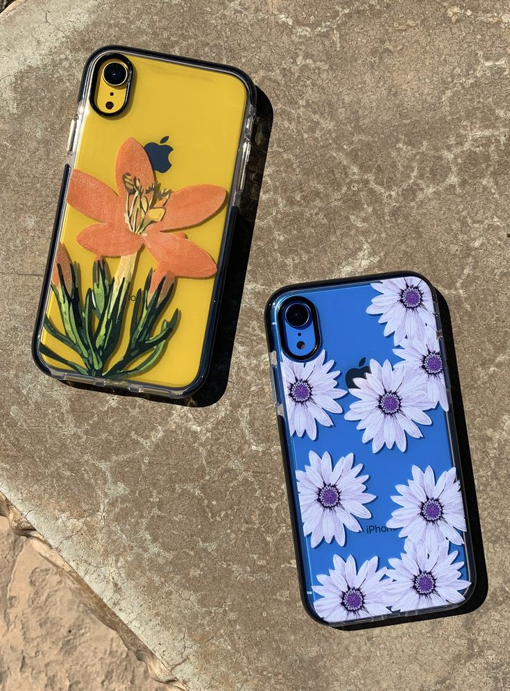 Blue or Yellow? Ready for iPhone XR with our Daylily and Purple Daisy Case for iPhone XR, iPhone XS / X, iPhone XS Max & iPhone 8 Plus from Elemental Cases
