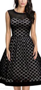 Missmay Classy Polka Dot Pinup Swing Dress