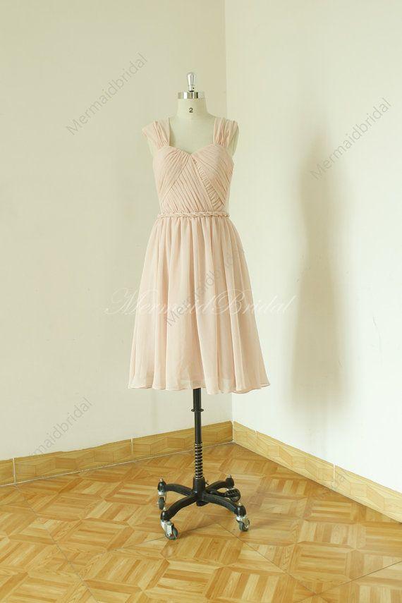 Blush open back Bridesmaid Dress, Short bridesmaid dresses ,Chiffon Knee Length Bridesmaid Gown      Product Description  All colors available, pls