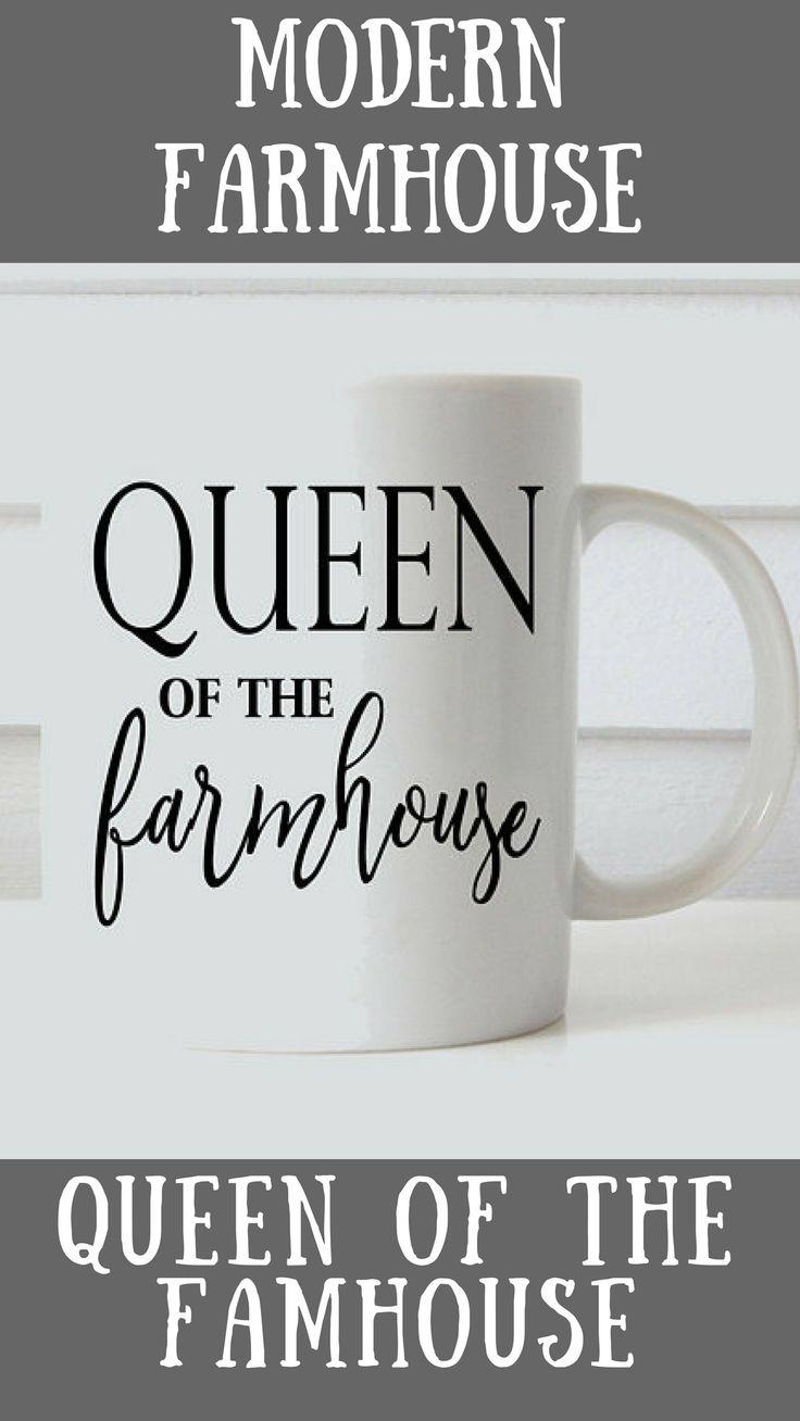 queen of the farmhouse mug // farmhouse coffee mug // coffee mug // mom mug // shiplap // coffee mug // personalized coffee mug // queen // modern farmhouse // #queen #ad #farmhouse #modernfarmhouse #mug