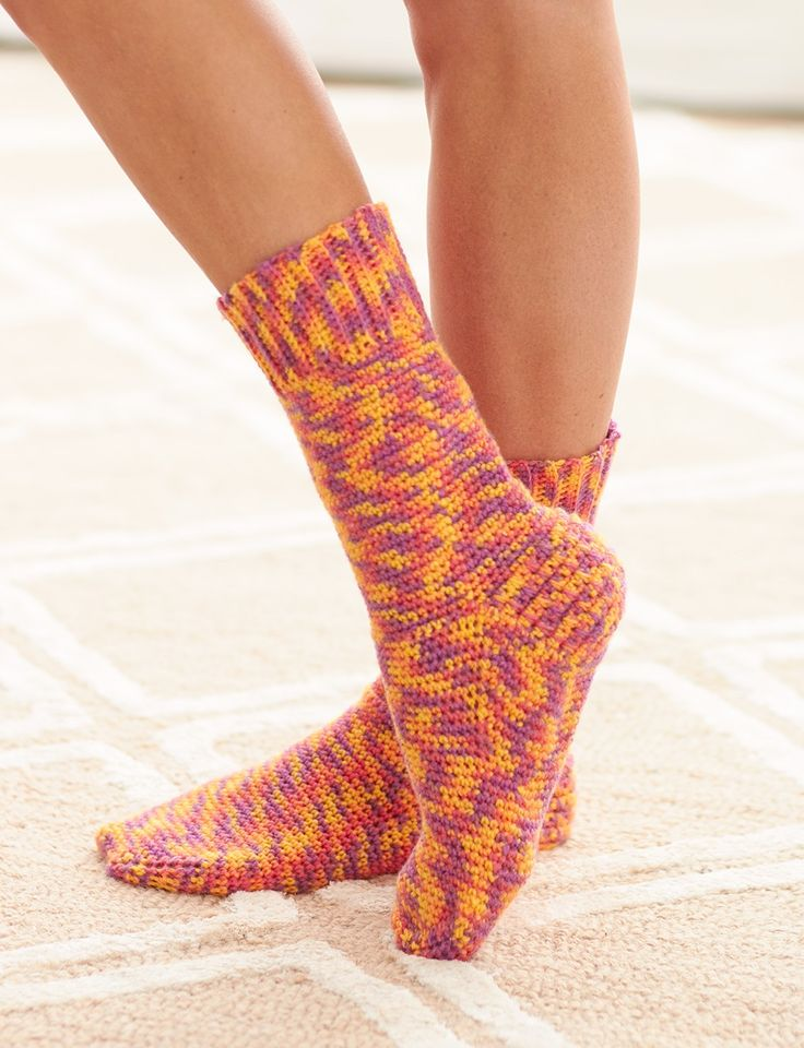 Yarnspirations.com - Bernat Basic Socks - Free Crochet Patterns    Yarnspirations