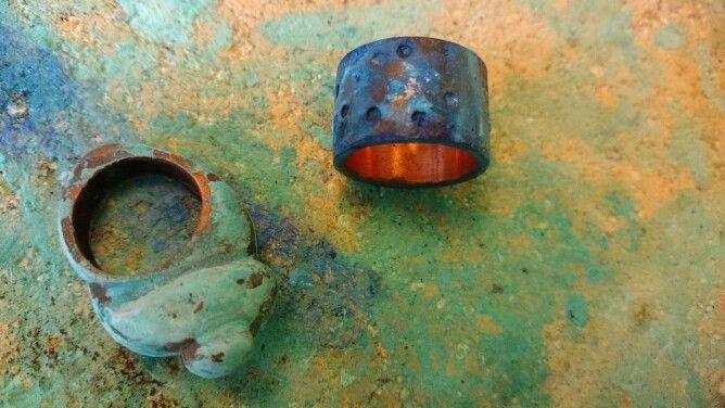 Joyas de Cobre en proceso de patina!!!  www.victorialonso.com Cobre Chileno