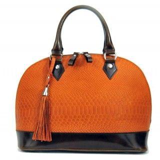 Harieta - geanta din piele naturala - portocaliu croco