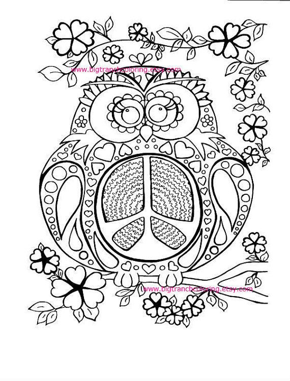 adult coloring page colouring peace owl hippie coloring hand drawn printable - Hippie Coloring Pages