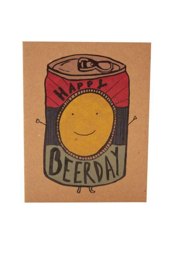 Beerday heureux à dire à lhomme ou la femme de votre vie avec cette carte joyeusement appropriée. Une carte de voeux danniversaire qui dispose dune très bonne canette de bière. Sert également une nimporte quelle carte doccasion le cas échéant. Carte est imprimée sur papier cartonné kraft 100 % recyclé et est livré avec une enveloppe jaune vif (également 100 % recyclé). Design est de Desiree B. dune conception originale de dessinés à la main.