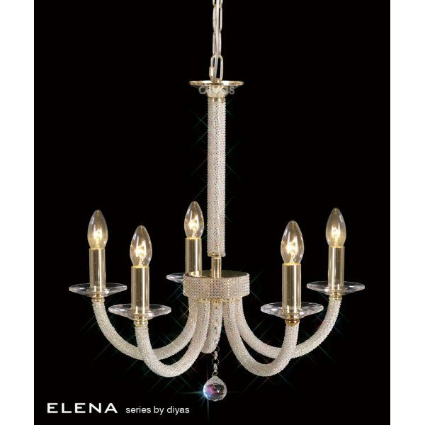 Diyas Elena 5 Light Crystal Ceiling Fitting In Gold Finish
