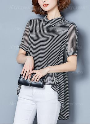 Blouses - $20.43 - Stripe Casual Cotton Collar Short Sleeve Blouses (1645182724)
