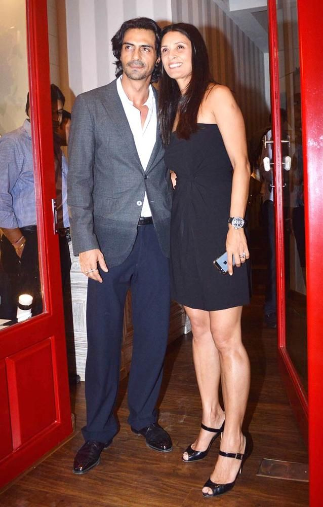 Arjun Rampal with wife Mehr at the launch of Sussanne Roshan, Seema Khan and Maheep Kapoor's retail boutique Bandra 190. #Fashion #Style #Bollywood #Beauty