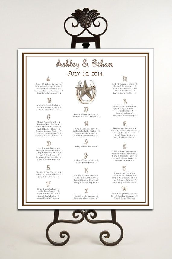 Western Country Rustic Seating Chart for Table Assignments for your Wedding Reception - Printable PDF File via Etsy