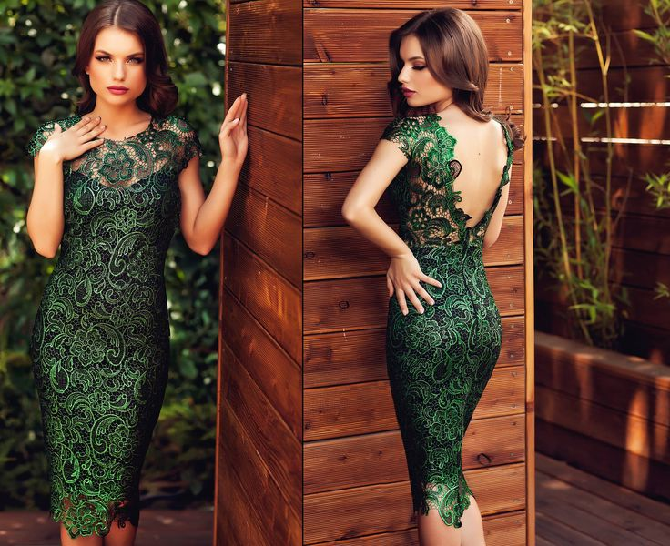 Midi lace dress in shades of green, with V cut at the back, perfect for a wedding this summer.