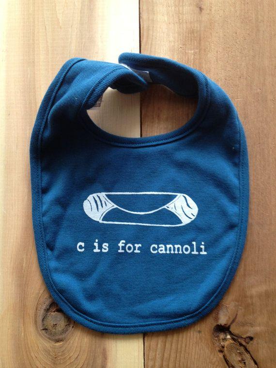 C is for Cannoli Organic Baby Bib Blue  Italian Italy by garbella
