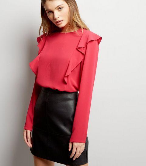 Chemise rose vif à manches longues et volants