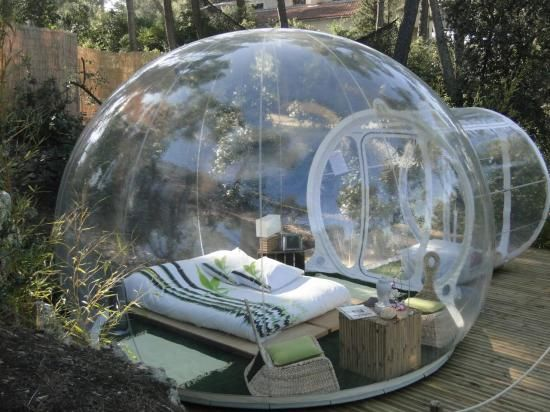 Clear Inflatable tent...so cool for a rainy night. Star watching. NO BUGS.