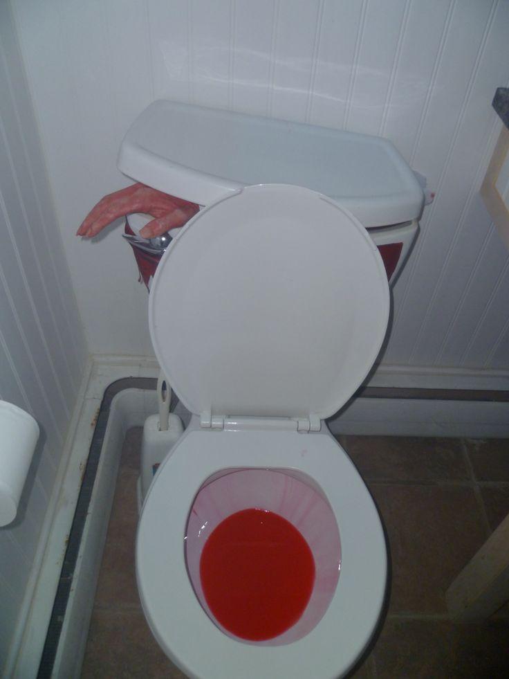 Halloween Bathroom Idea Wick A Bottle Of Red Pool Dye