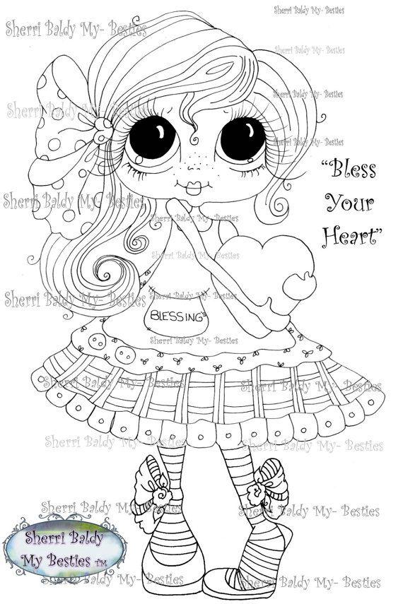 INSTANT DOWNLOAD Digital Digi Stamps Big Eye Big Head Dolls Messy Bessy Bless Your Heart  My Besties By Sherri Baldy