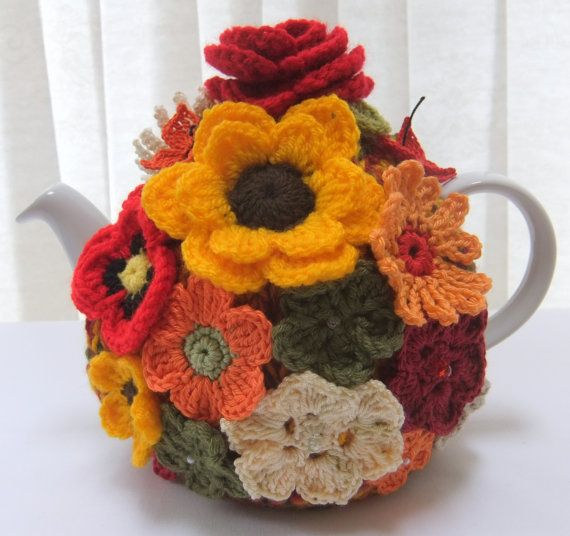 Hand knitted 4 cup autumn rose tea cosy by Handmadewithlove66