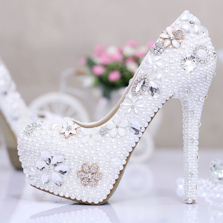 White Ivory high heel pumps wedding shoes rhinestone wedding shoes ultra high heels with platform crystal ...