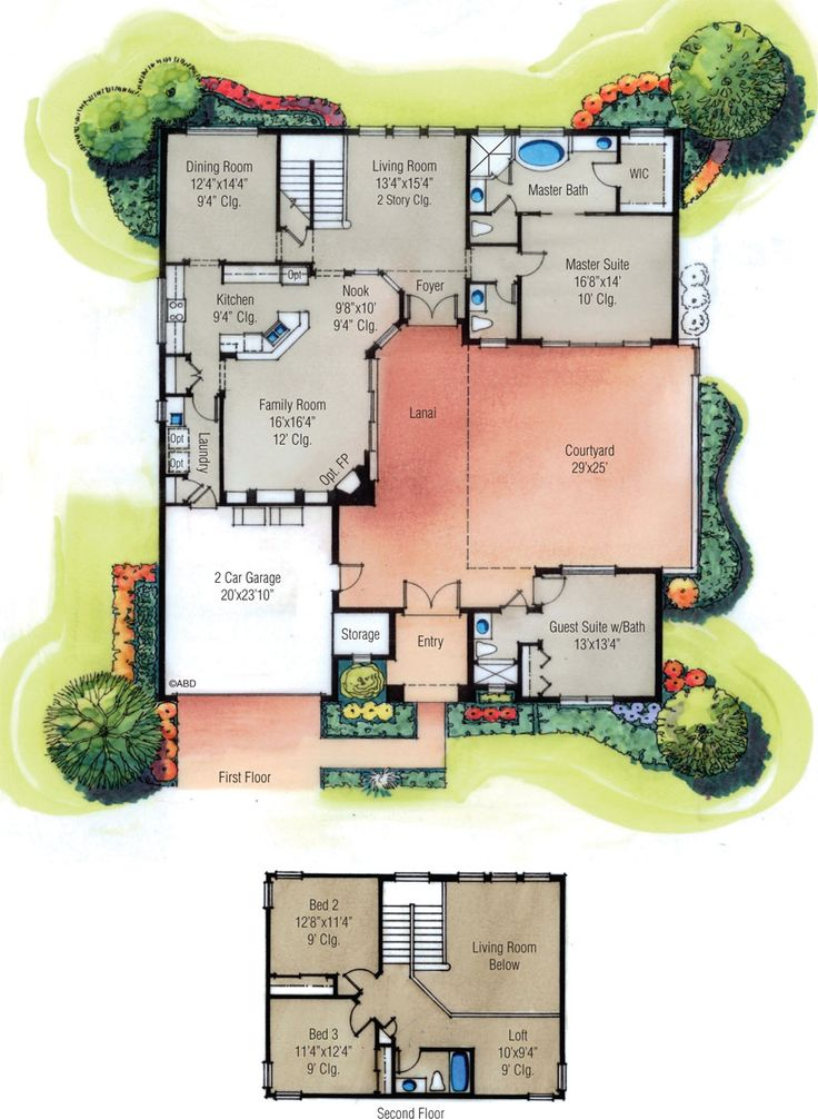 four bedroom courtyard house plan, love the courtyard! Maybe just make the upstairs a little bigger?