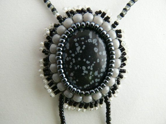 Obsidian necklace and tassel. Snow flake obsidian by Evesbeads, $180.00