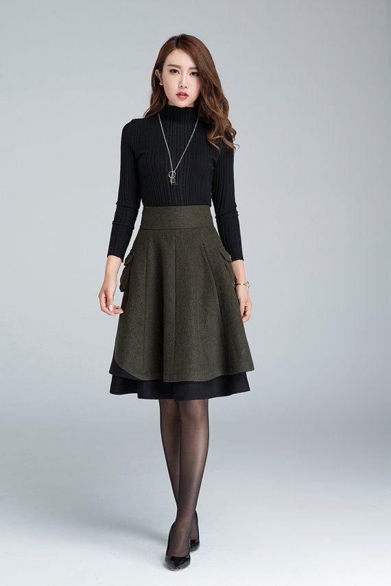short skirt wool skirt winter skirt layered skirt plus by xiaolizi