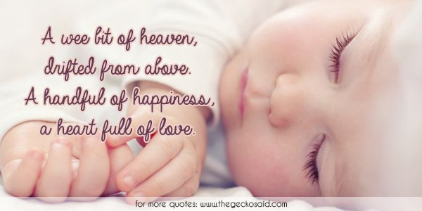 A wee bit of heaven, drifted from above. A handful of happiness, a heart full of love.  #above #baby #drifted #handful #happiness #heart #heaven #love #quotes #wee  ©2016 The Gecko Said – Beautiful Quotes