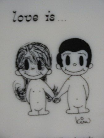 1970 Love Is Boy and Girl Wall Hanging Picture,We used to draw these on our school books and come up with lots of Love is... sayings
