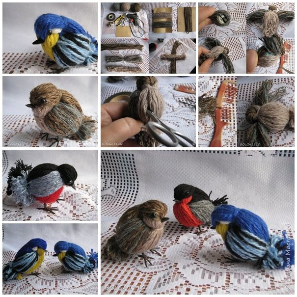 Handmade Yarn Feather and Birds, SO PRETTY ! Check directions--> http://wonderfuldiy.com/wonderful-diy-handmade-yarn-feather-and-bird/