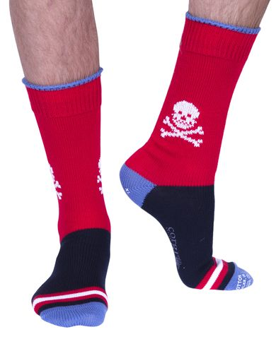 Skull & Crossbones luxury 100% cotton boot sock in red | Made in Wales by Corgi