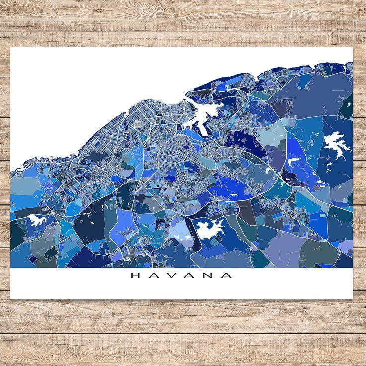 Havana, Cuba map art print. #havana #map