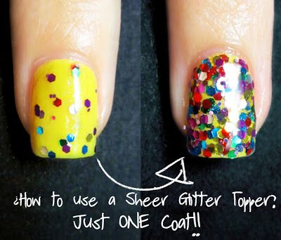 How to use a sheer glitter topper and get full coverage in one coat. No more thick nails! Thanks to Polished Elegance for the link.   from Wish Nail