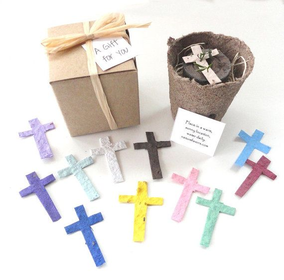 12 Flower Seed Cross Party Favors, First Communion, Baptism, Christening, Plantable Seeded Crosses by Nature Favors on Etsy, $36.00