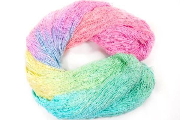 *夢紡ぎ* 手染め糸 コットンファンシー花スラブ 228g かぎ針編み 棒針編み ハンドメイド_画像2