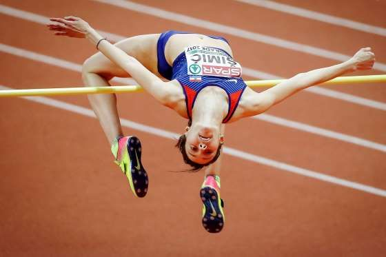 Up and Over   Ana Simic of Croatia competes in the Women's High Jump qualification on day one of the 2017 European Athletics Indoor Championships at the Kombank Arena on Friday in Belgrade, Serbia.