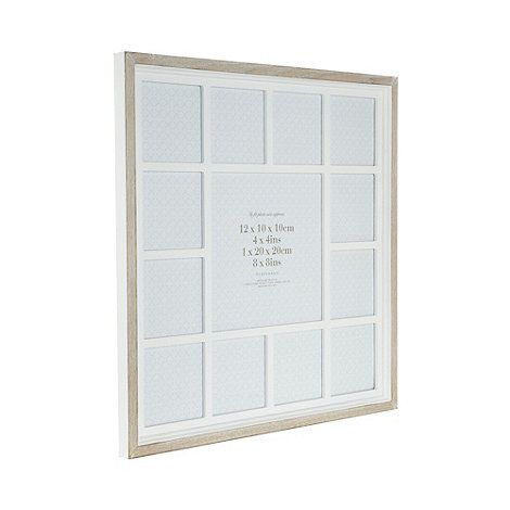 This multi photo frame from our own range comes in white with a wooden border in light brown, perfect for displaying your favourite memories.