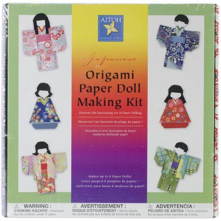 Japanese Origami Paper Doll Making Kit-, Multicolor