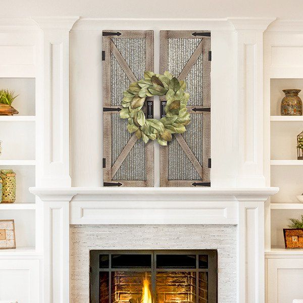 Distressed Farmhouse Living Room: Our Distressed Barn Door Wall Plaque Pair Are A Versatile
