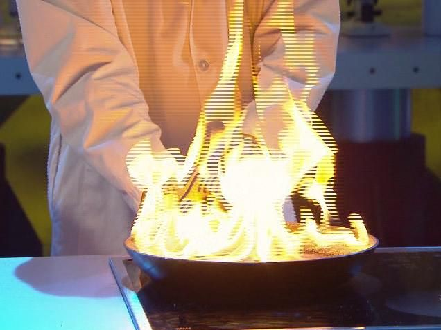 Comment éteindre l'huile en feu rapidement? a) Avec de l'eau b) Avec du papier journal humidec) Retirer la poêle.