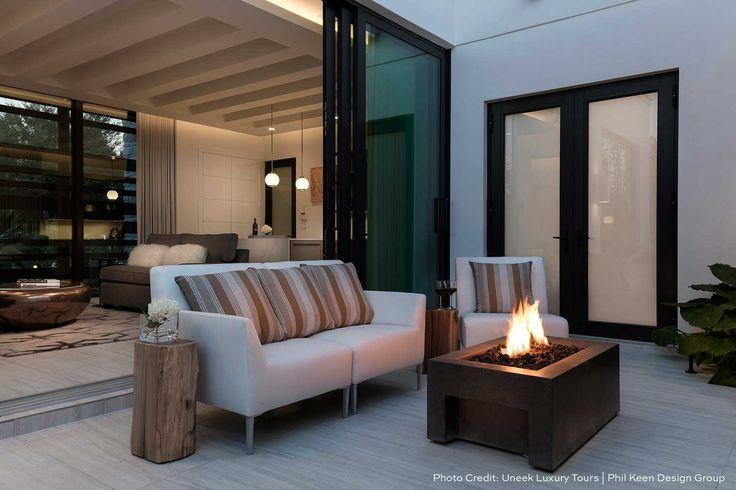 Lyra Fire Bowl - modern linear design for outdoor living