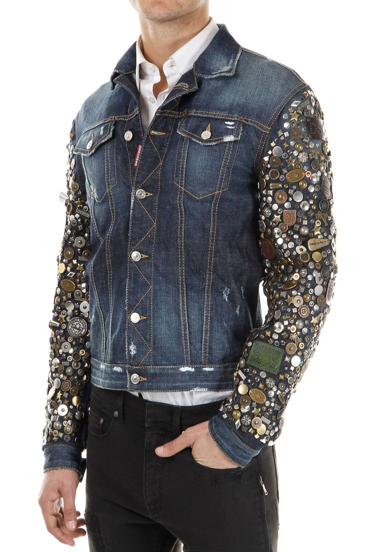 Dsquared2 Men Denim Jacket with exlusive Studded Sleeves ...