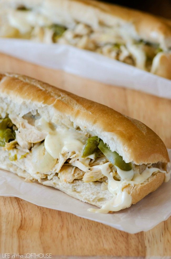 Crock Pot Chicken Cheesesteak Sandwiches. These sandwiches are incredible!!