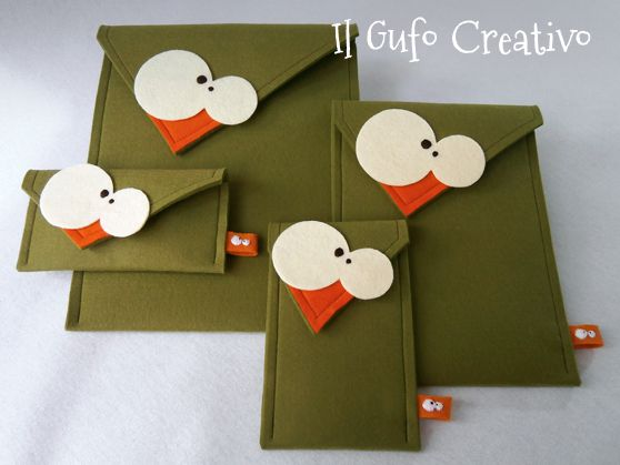 Il Gufo Creativo green felt cases