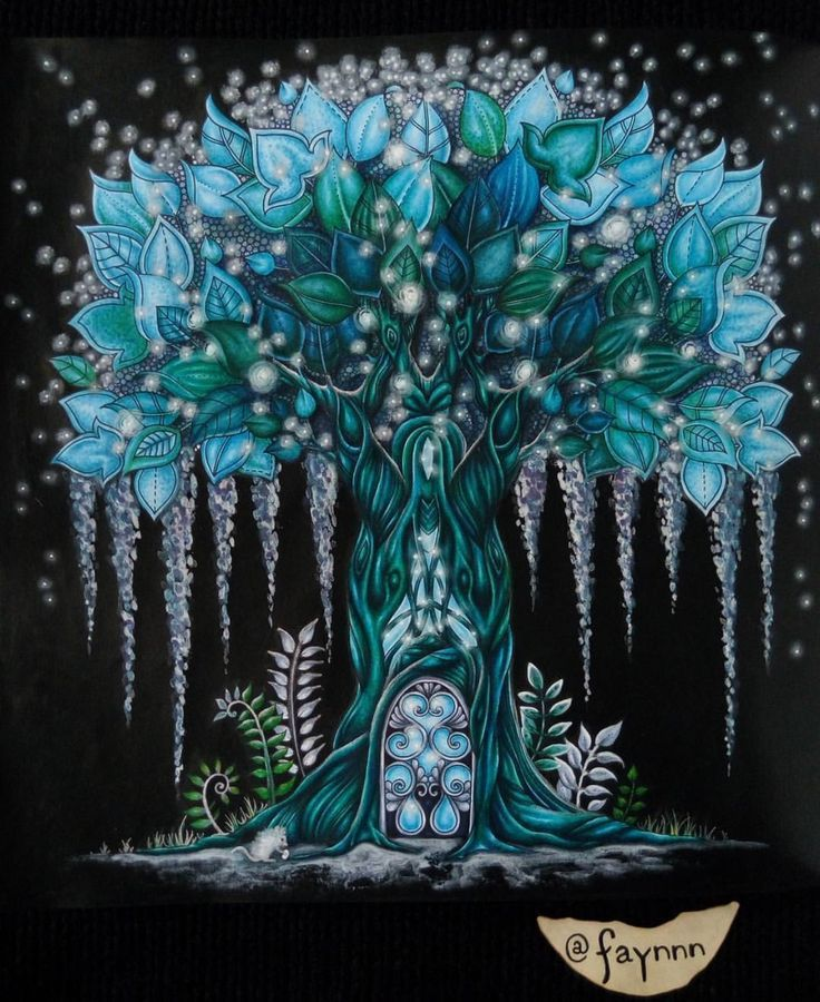 Awesome Tree Coloring On A Black Background Coloring In 2018