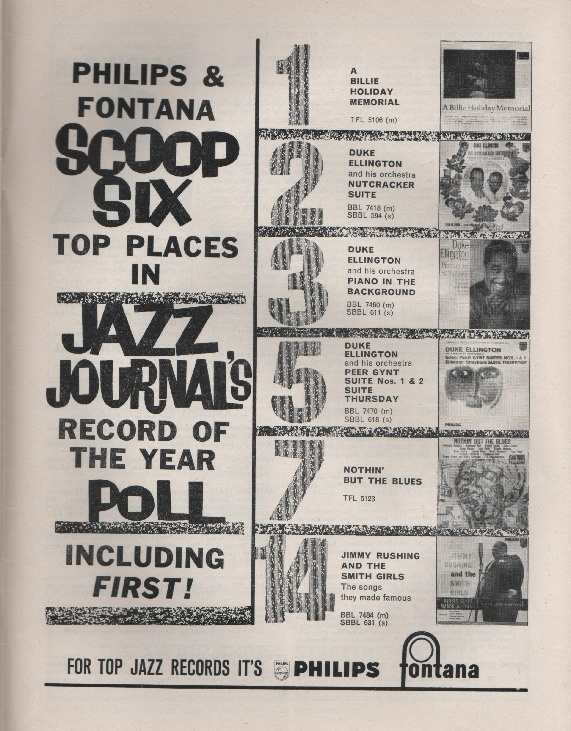 Jazz Journal - January 1962, advertisement for Philips and Fontana, in celebration of them having scooped 6 of the records in Jazz Journal's record of the year poll.