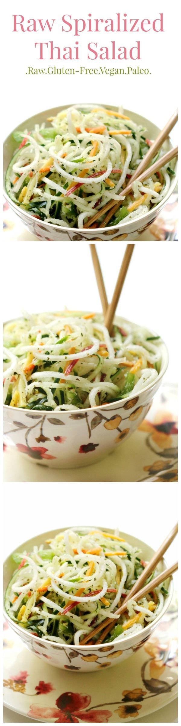 Who ever said veggies were boring? This Spiralized Thai Salad is all veggie, all raw, and exploding with flavor! If you aren't a veggie lover yet, you will be after tasting this gluten-free, paleo, and vegan spiralized salad recipe!